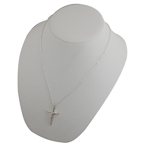 Silver 40x24mm solid block Crucifix Cross with a cable Chain 22 inches