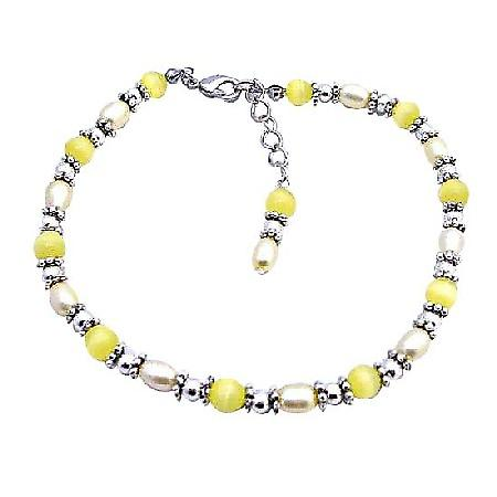 Yellow Cat Eye Beads Bali Silver Freshwater Pearls Bracelet
