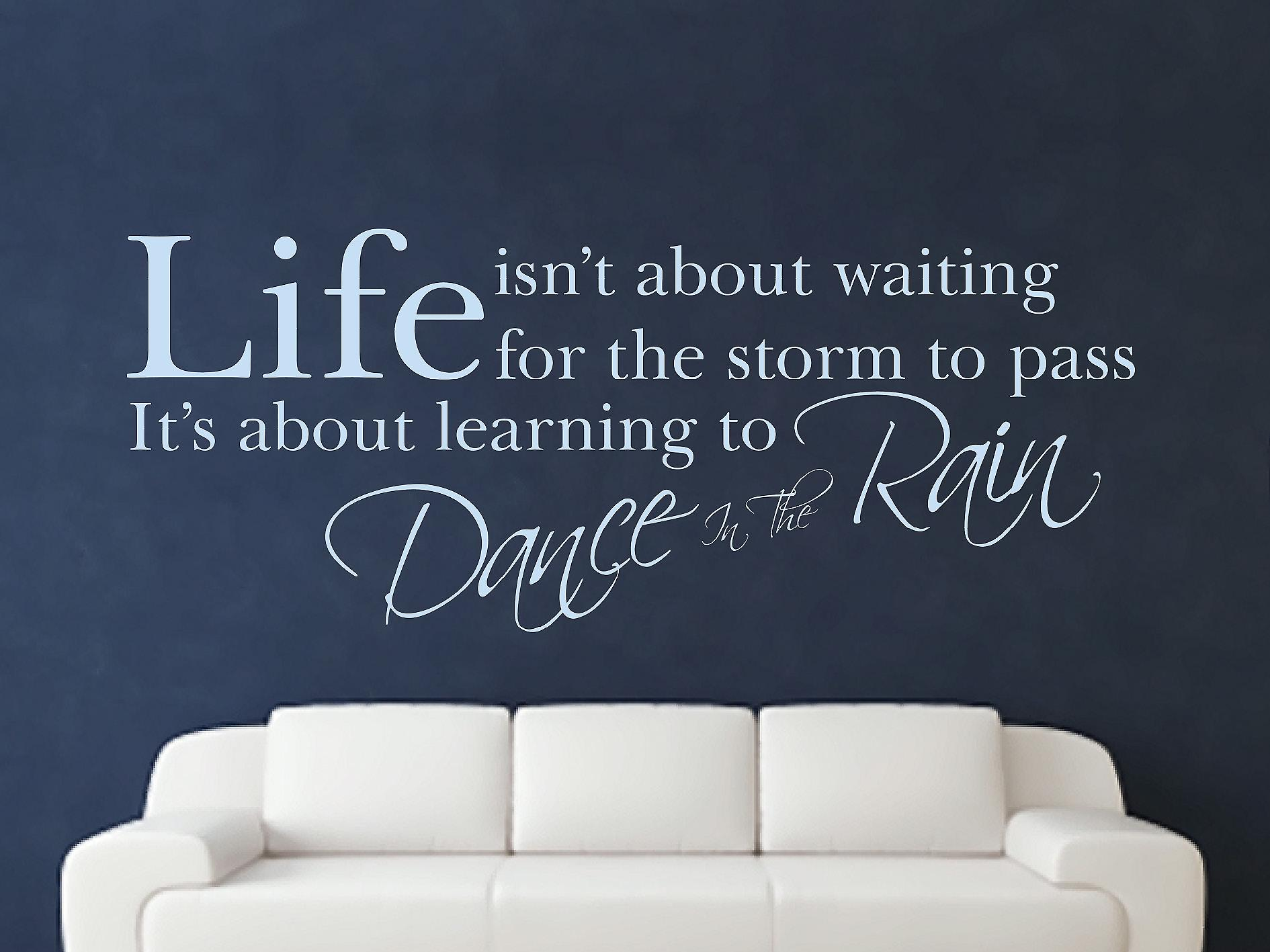 Dance In The Rain Wall Art Sticker - Pastel Blue