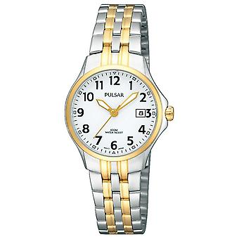 Pulsar Womens Two Tone Stainless Steel Bracelet White Dial PH7222X1 Watch