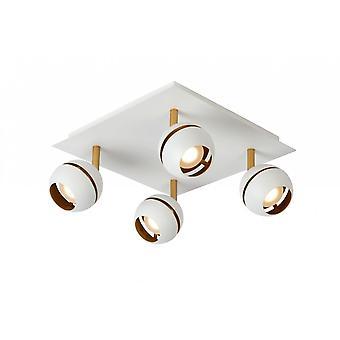 Lucide Binari moderne carré métal blanc plafonnier Spot