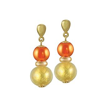 Eternal Collection Veneto Burnt Orange Murano Glass Gold Tone Drop Clip On Earrings