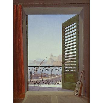 Balcony overlooking the Bay of Naples, Carl Gustav Carus, 50x37cm
