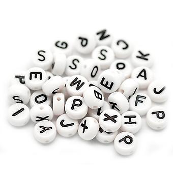 Acrylic White Black Letters Bead - Spacer Beads 7mm - Huge Quantity For Endless Projects: 1000 Pieces !