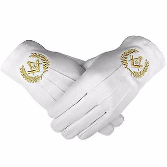 Masonic Cotton Gloves with Machine Embroidery Square Compass and G Gold