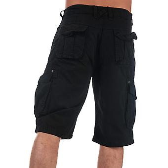 Mens Crosshatch Black Label Chaseforth Cargo Shorts In Black- Button Fastening-