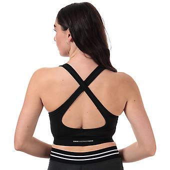 Womens Slazenger Maxi Bra Top In Jet Black- Stretch Fabric- Removable Cups-