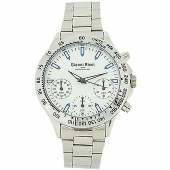Gianni Ricci Gents zilveren Toon Chronograph White Dial armband Strap Watch GR121