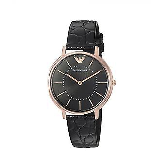 Emporio Armani Ar11064 Black Leather Rose Gold Tone Ladies Watch