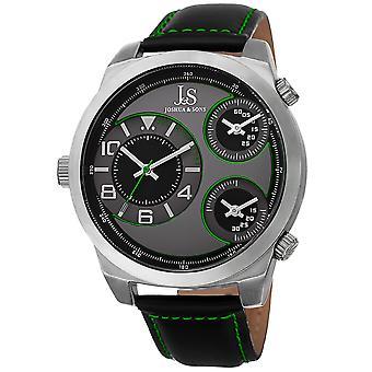Joshua & Sons Men's JS88GN Black Triple Time Zone Quartz Watch with Leather Strap