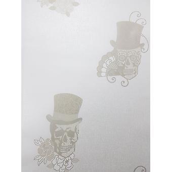 Rasch suiker schedels glitter behang zilver goud wit metallic getextureerde vinyl