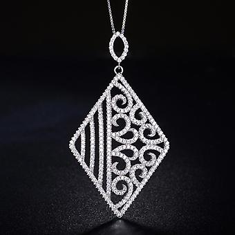 925 Sterling Silver Hollow Out Rhombus Pendant