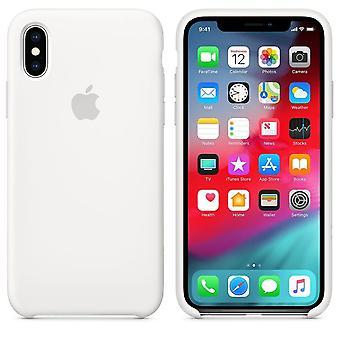 Оригинальной упаковке Apple силиконовые волокна Микро Обложка чехол для iPhone XS - белый