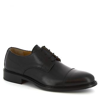 Leonardo Shoes Men's handmade derby lace-ups shoes in black calf leather