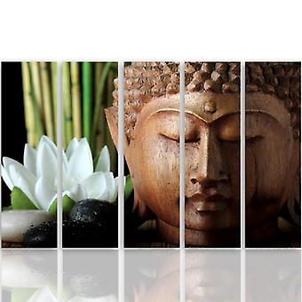 Five Part Picture On Canvas, Pentaptych, Type C, Buddha 3
