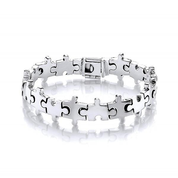 Cavendish French Sterling Silver Jigsaw Puzzle Bracelet
