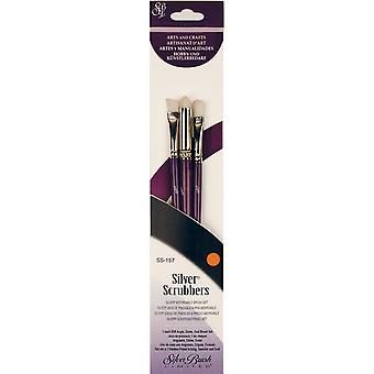 Silver Scrubber Stiff Synthetic Brush Set 3/Pkg-Angle, Dome & Oval SS157