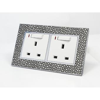 I LumoS AS Luxury Pearl Leather Double Switched with Neon Wall Plug 13A UK Sockets