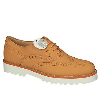 Scarpe stringate brogue in pelle arancione di Hogan donna