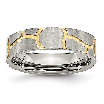 Stainless Steel Satin and Grooved Gold-plated Ladies 6mm Band Ring - Size 11.5