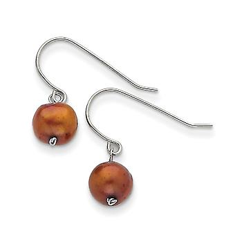 Sterling Silver Chocolate 7.5-8mm Freshwater Cultured Pearl Dangle Earrings