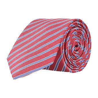 Pelo classic silk tie necktie silk cherry red - blue striped