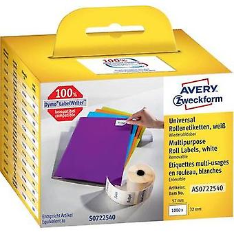 Avery-Zweckform Labels (roll) 57 x 32 mm Paper White 1000 pc(s) Removable AS0722540 All-purpose labels