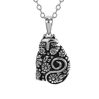 Laurel Burch floraison féline en argent Sterling pendentif w / Necklace