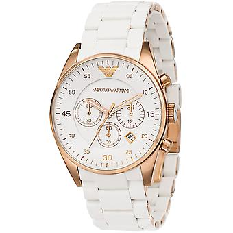 Emporio Armani AR5919 Rose Gold Sports White Silicone Chronograph Watch