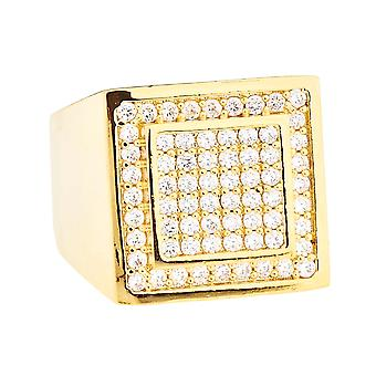 Iced out bling micro pave concepteur bague - dôme 15mm or