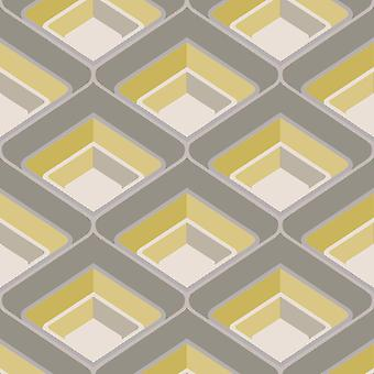 3D Geometric Retro Vintage Bold Metallic Glitter Yellow Grey Silver Wallpaper