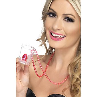 Schnapsglas Shot JGA pink mit Kette und Penis Hens Night Pinnchen