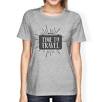 Tijd om te reizen van Womens Gray ronde hals T-shirt lichtgewicht katoen