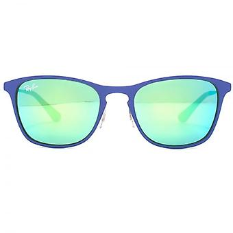 Ray-Ban Junior Metal Keyhole Square Sunglasses In Green Blue Rubber