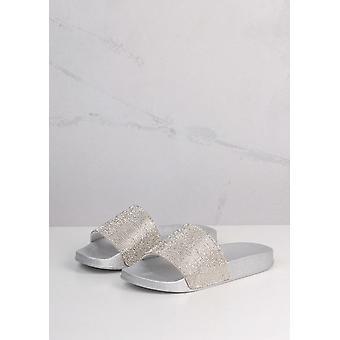 Sparkle Diamante Flat Sliders Silver