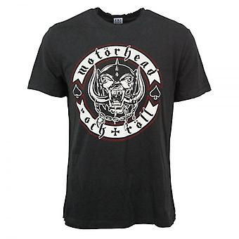Amplified Mens Motorhead Biker Badge T Shirt Charcoal