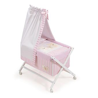 Interbaby Natural Crib canopied Model Love Rosa