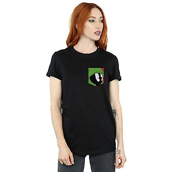 Looney Tunes Women's Marvin The Martian Face Faux Pocket Boyfriend Fit T-Shirt
