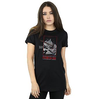 Friday 13th Women's Distressed Axe Poster Boyfriend Fit T-Shirt