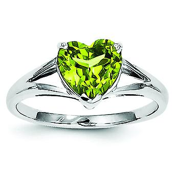 Sterling Silver Rhodium Peridot Ring - Ring Size: 6 to 8