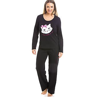 Camille Black Full Length Pussy Cat Motif Pyjama Set