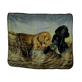 Wetland Pups and Decoy Micro Raschel Plush Throw Blanket 50 x 60 inch