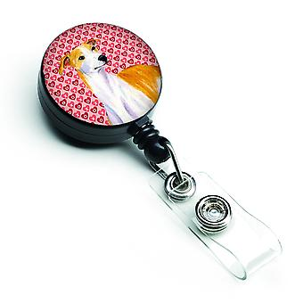 Whippet  Love and Hearts Retractable Badge Reel or ID Holder with Clip
