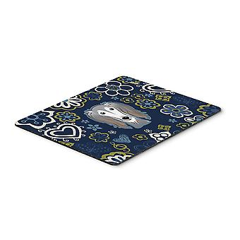 Carolines Treasures  BB5080MP Blue Flowers Saluki Mouse Pad, Hot Pad or Trivet