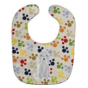 Carolines Treasures  BB5919BIB Pawprints Bedlington Terrier Blue Baby Bib