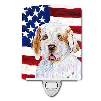 USA American Flag with Clumber Spaniel Ceramic Night Light