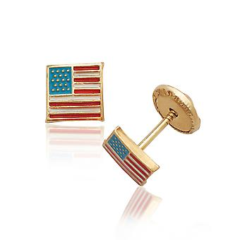 14k Yellow Gold Enamel Screw-Back Flag Earrings - Measures 5x5mm