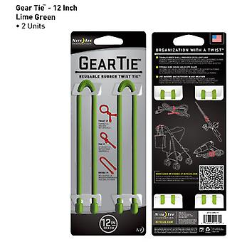 Nite Ize Gear Tie 12 inch Twin Pack (Lime Green)