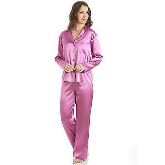 Camille Pink Satin Full längd Pyjamas Set