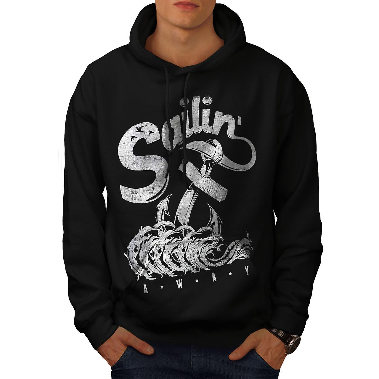 Sailing Navy Sea Vintage Men Black Hoodie | Wellcoda